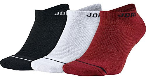 Nike Unisex Jordan Jumpman No-Show Socks (3 Pair) Black/White/Gym Red (Men's 8-12)