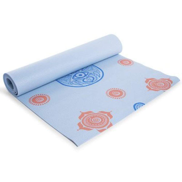 Series 8 Fitness 5mm Thick Designer Yoga mat 24in x 68in - Blue Hamsa Hand Design 5mm Thick - Pilates & Floor Exercises