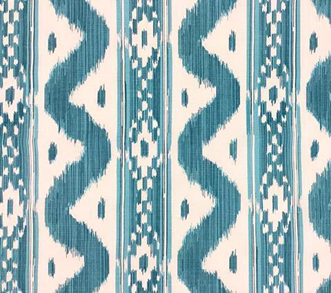China Seas fabric Bali Hai turquoise and white ikat geometric batik print