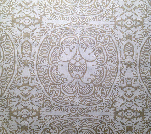 Quadrille Prints: Veneto - Custom White on Ecru 100% Belgian Linen