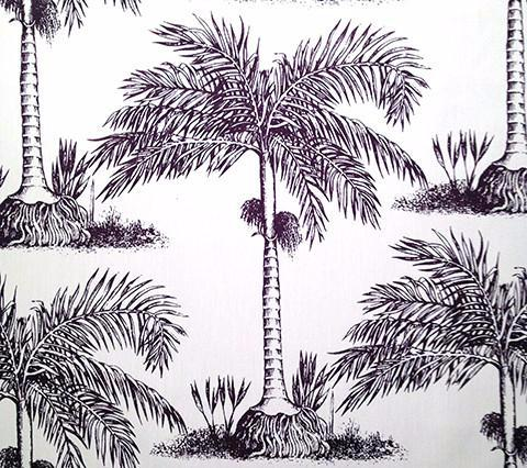 China Seas Fabric: Palmiere Custom Eggplant palm tree print on Vellum Suncloth sunbrella (Indoor/Outdoor Quality)
