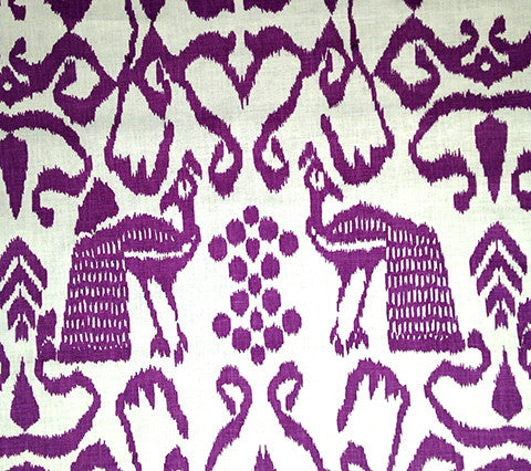 China Seas Fabric: Bali Isle - Custom Purple on White 100% Linen