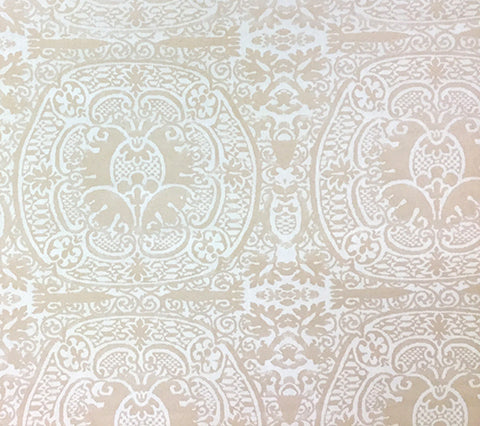 Quadrille Prints: Veneto - Custom Desert Tan cream damask fortuny print on Vellum Suncloth (Outdoor Quality)