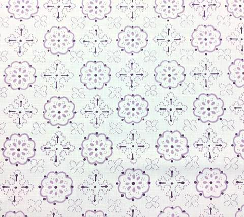 Quadrille Prints: Crawford - Custom Multi Lavender on White Belgian Linen/Cotton