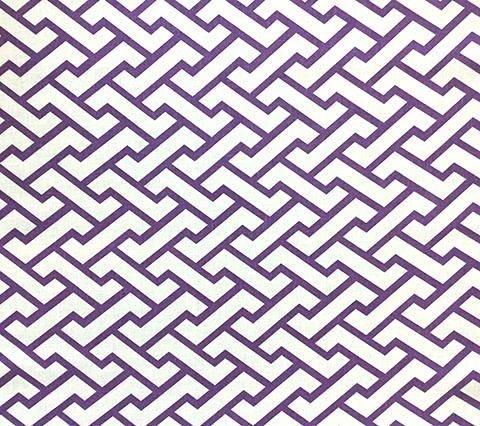 China Seas Fabric: Aga - Custom Purple geometric print on White 100% Belgian Linen