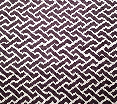 China Seas Fabric: Aga Reverse - Custom Brown GEOMETRIC PRINT on Tinted Belgian Linen/Cotton