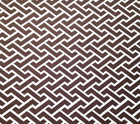 China Seas Fabric Aga Reverse Custom Brown on White Belgian Linen Cotton Geometric