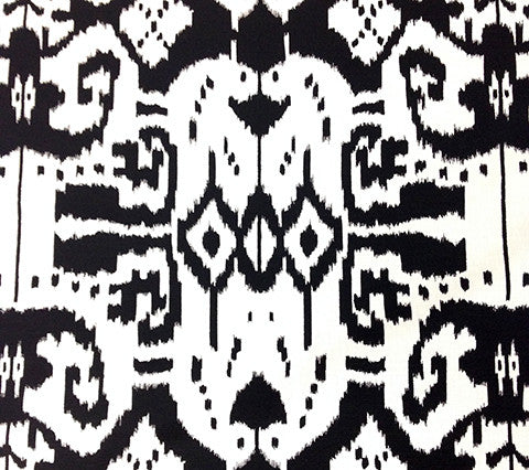 China Seas Fabric: Island Ikat - Custom Black on White Belgian Linen/Cotton