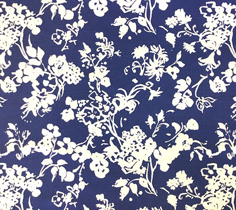 China Seas Fabric: Silhouette Reverse - Custom Dark Blue reverse floral print on Custom Optic White Belgian Linen/Cotton