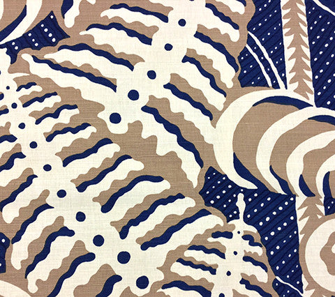Alan Campbell Fabric: Ferns - Custom Camel / Navy on Belgian Linen Cotton