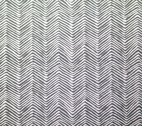 Alan Campbell Fabric: Petite Zig Zag - Custom Gray on White Suncloth