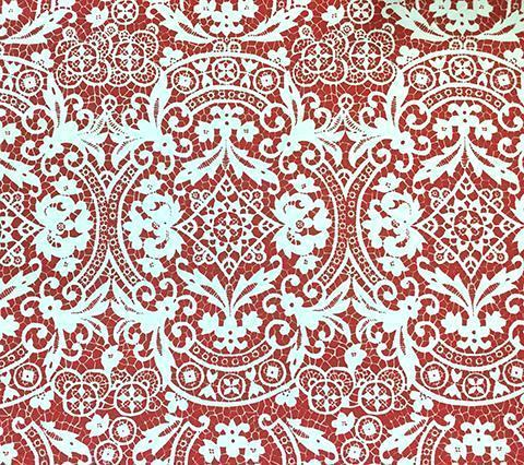 Alan Campbell Fabric: New Brompton - Custom Red lace damask print on Bright White Belgian Linen/Cotton