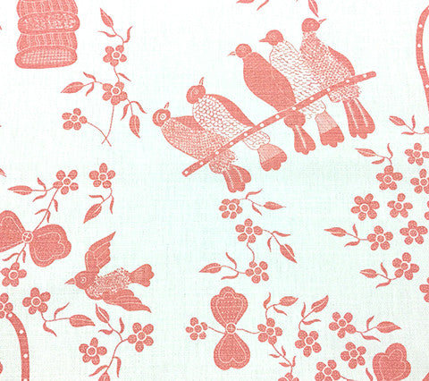 China Seas Fabric: Birds - Custom Minstrel Heart on White Belgian Linen/Cotton