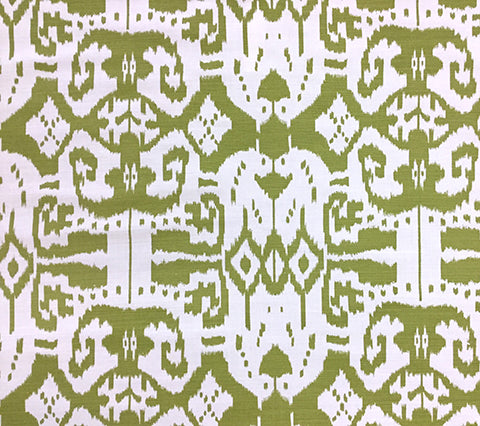China Seas Fabric: Island Ikat - Custom Pistachio Green ikat batik print on White Belgian Linen/Cotton