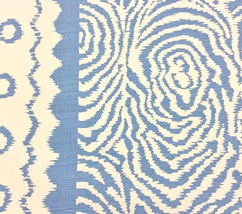 Alan Campbell Fabric: Meloire Reverse Custom French Blue on White Belgian Linen Cotton