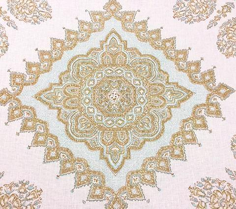 Home Couture Fabric: Persepolis - Custom Blue / Tobac / Taupe on White Belgian Linen/Cotton