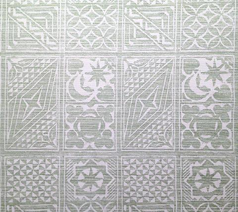 China Seas Fabric Birindi Soft Green on Tinted Belgian Linen Persian Geometric Print