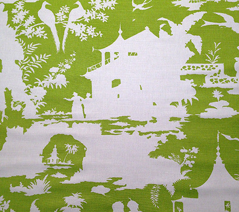 Quadrille Prints: Paradise Background - Custom Pistachio on White