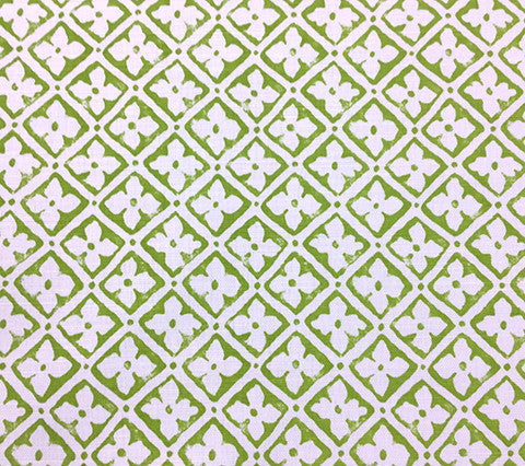 Quadrille Prints: Puccini - Custom Apple Green on White Belgian Linen/Cotton