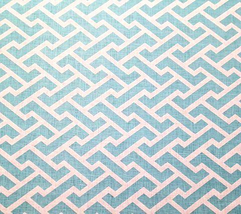 China Seas Fabric Aga Reverse Custom Turquoise Geometric on White 100% Belgian Linen