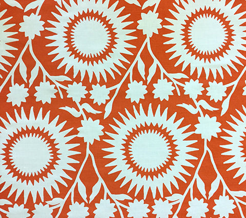 China Seas Fabric: Daisy Blotch - Custom Tangerine Orange SCANDINAVIAN FOLK ART on White Belgian Linen/Cotton