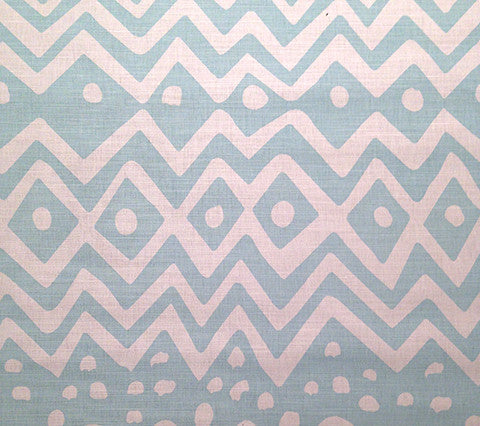 Alan Campbell Fabric: Deauville - Custom Pale Aqua on White Belgian Linen Cotton