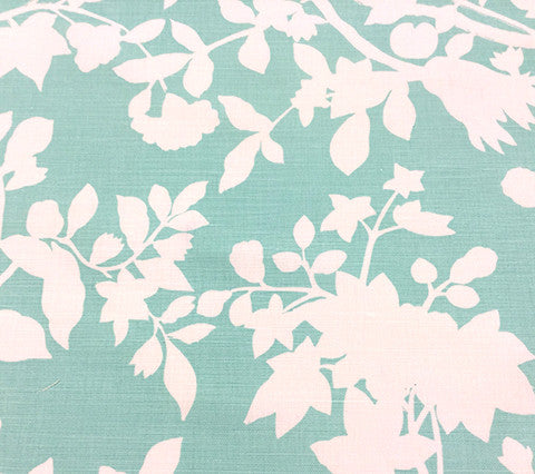 Quadrille Fabric Happy Garden Background Custom Turquoise on White Belgian Linen Cotton