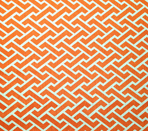 China Seas Fabric Aga Reverse Custom Orange Geometric on White 100% Belgian Linen