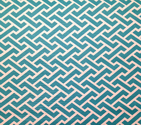 China Seas Fabric: Aga Reverse - Custom Turquoise geoemtric print on Tinted Belgian Linen/Cotton