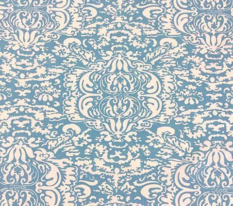 China Seas Fabric: San Marco Reverse - Custom Turquoise damask traditional print on Tinted Belgian Linen/Cotton