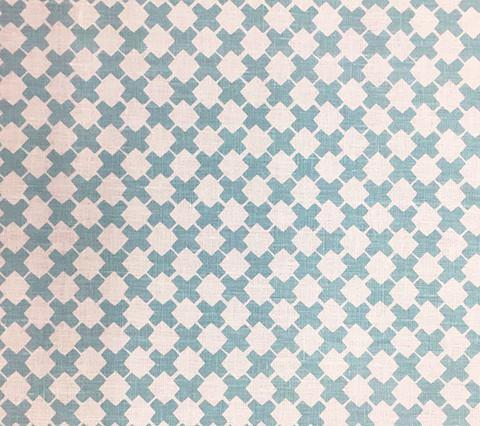 China Seas Fabric: Double Cross 1 - Custom New Blue on White Linen/Cotton