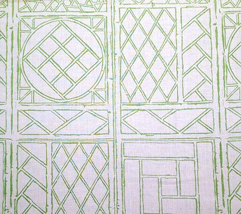 China Seas Fabric: Trellis Outline - Custom Green on Tinted 100% Linen
