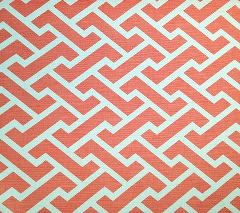 China Seas Fabric Aga Reverse Custom Shrimp Coral Orange geometric print on Tinted Belgian Linen/Cotton