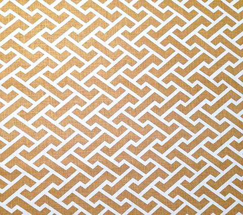 China Seas Fabric Aga Reverse Custom Camel on White Belgian Linen Cotton Geometric