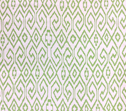 China Seas Fabric: Aqua 4 - Custom Jungle Green geometric ikat batik print on White Belgian Linen/Cotton