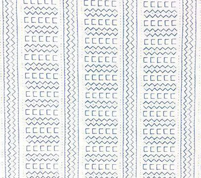 Alan Campbell Fabric: Beau Rivage Custom French Blue tribal beachy geometric print on White Belgian Linen/Cotton