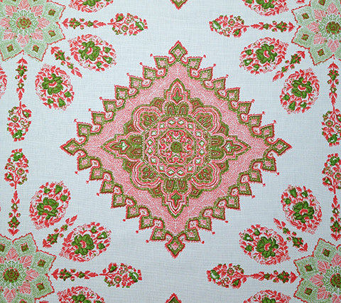 Home Couture Fabric: Persepolis - Custom Melon / Green on White Belgian Linen/Cotton