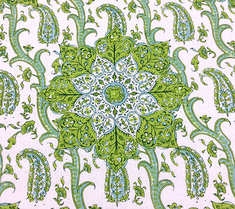 Home Couture: Kashmir Exotique - Custom Multi Greens on White 100% Belgian Linen