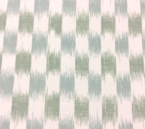 China Seas Fabric II Blue Ikat Custom French Green Rain Blue ikat batik print on White Belgian Linen