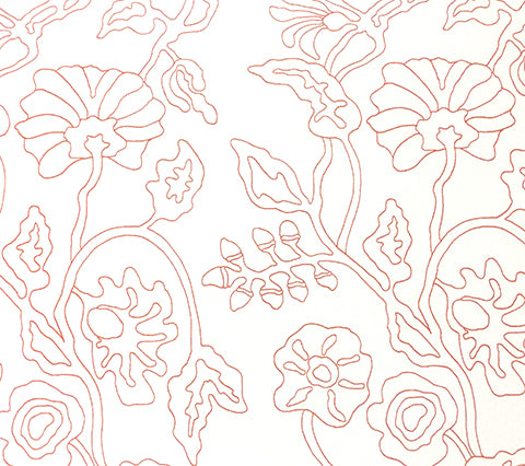 Alan Campbell Fabric: Potalla Outline Custom New Shrimp large floral print on White Suncloth Sunbrella Outdoor Quality