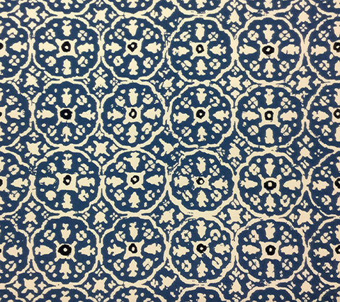 China Seas Wallpaper: Nitik II - Custom Blue / Flores Blue on White Vinyl