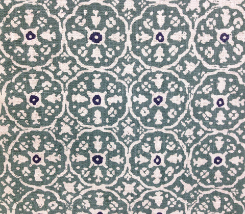 China Seas Fabric: Nitik II Custom French Green Navy geometric small batik print on Tinted Belgian Linen/Cotton