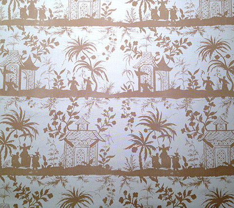 China Seas Fabric: Lyford Pagoda Petite - Custom Beige on White Sunbrella