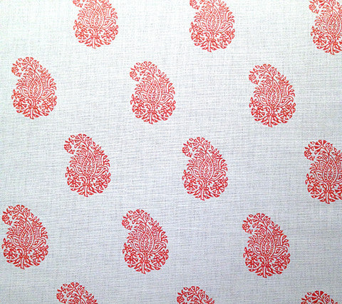 China Seas Fabric: Bangalore Paisley - Custom New Shrimp on White
