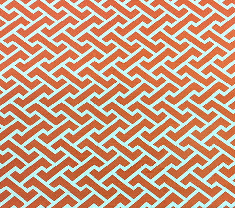 China Seas Fabric: Aga Reverse - Custom Orange geometric print on Tinted Belgian Linen/Cotton