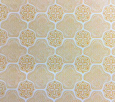 China Seas Fabric: Hmong Batik - Custom Maize GOLD YELLOW PRINT on Vellum Suncloth SUNBRELLA (Outdoor Quality)