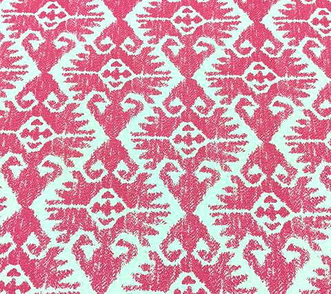 China Seas Fabric Aztec Ikat Custom Pink on Tinted Belgian Linen Cotton