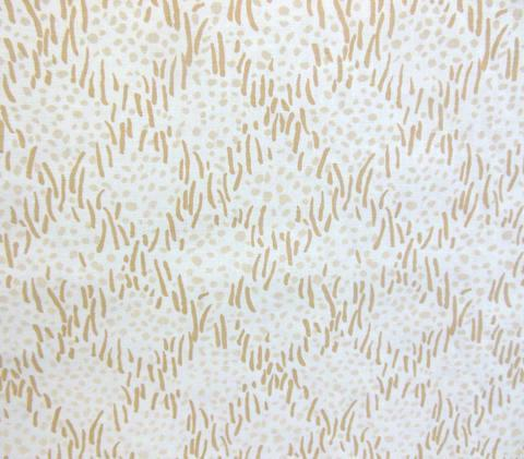 China Seas Fabric: Trilby - Custom Gold Silver small textured grass diamond grid print on White Belgian Linen