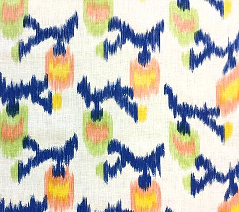 Alan Campbell Fabric: Queluz - Custom Navy / Green / Yellow / Orange abstract ikat batik print on Tinted Belgian Linen
