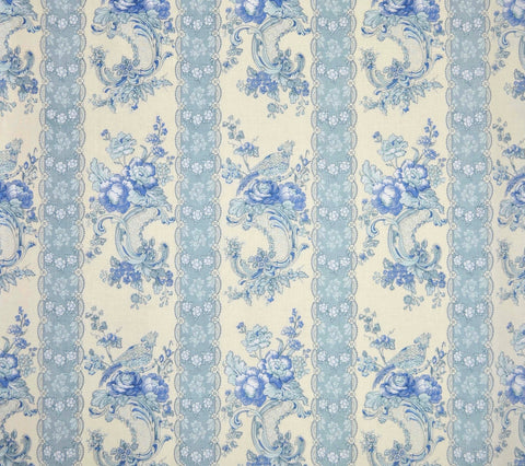 Quadrille Fabric: Hampton Toile - Custom Blues on Cream 100% Belgian Linen